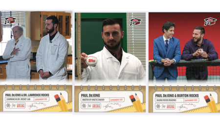 three TOPPS of the class baseball cards with Paul Dejong, Burton Rocks and Dr. Rocks